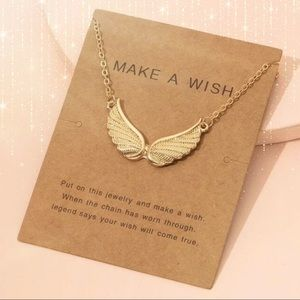 CIELO Angel Wing Pendant Gold Tone Necklace